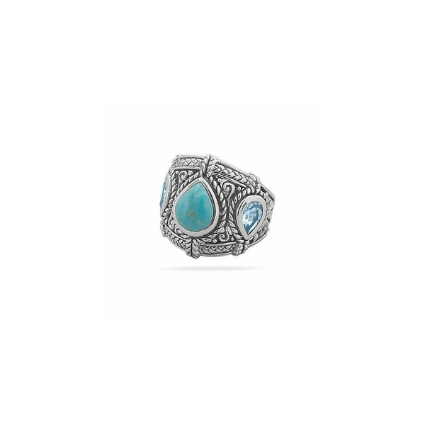 Women's Lady Topaz Oxidized Sterling Silver Cocktail Ring
