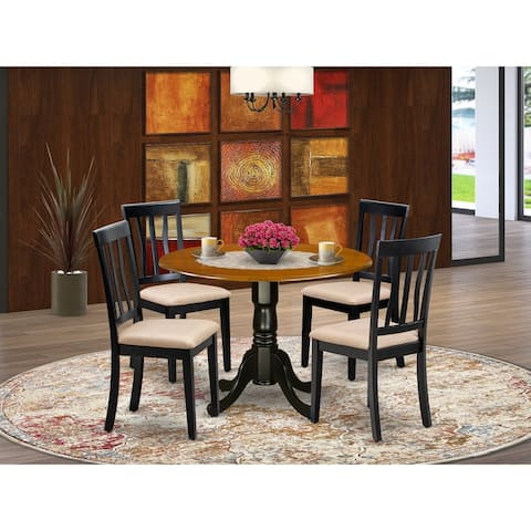 East West Furniture 5-piece Dining Set Cherry and Black Finish Rubberwood