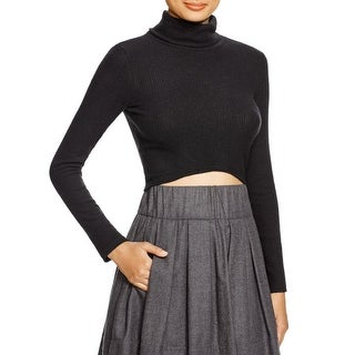 Aqua Womens Crop Top Turtleneck Ribbed Knit
