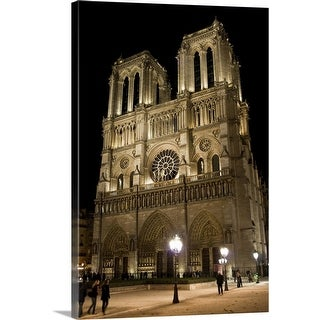 """""""Cathedral de Notre Dame at night"""" Canvas Wall Art"""