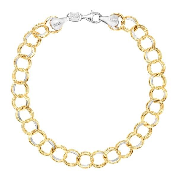 Two-Tone Double Link Bracelet in 14K Gold-Bonded Sterling Silver