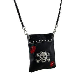 Rhinestone Skull and Embroidered Red Roses Crossbody Handbag - Black