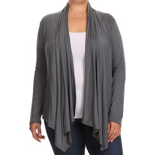 Women Plus Size Long Sleeve Sweater Casual Cover Up Gray