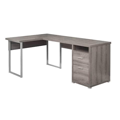 Offex Left or Right Set-Up L-Shaped Corner Computer Desk - Dark Taupe
