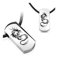 Stainless Steel Tag Pendant with Beveled Black Plated Tribal Dragon (15 mm Width)
