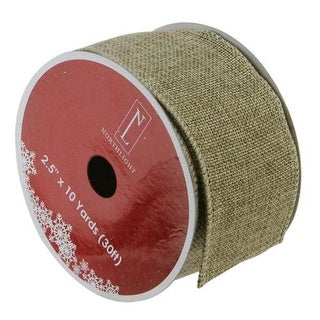 """Faded Green and Brown Burlap Wired Christmas Craft Ribbon 2.5"""" x 10 Yards"""