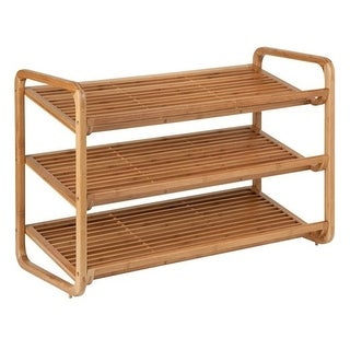 Honey-can-do SHO-01599 Honey-can-do SHO-01599 3-Tier Deluxe Bamboo Shoe Storage Rack, Natural - 24 x Shoes - 3 Tier(s) -
