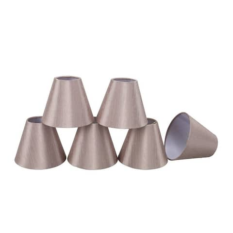 """Aspen Creative Hardback Empire Chandelier Clip-On Lamp Shade (6 Pack), Taupe, (3"""" x 6"""" x 5"""")"""