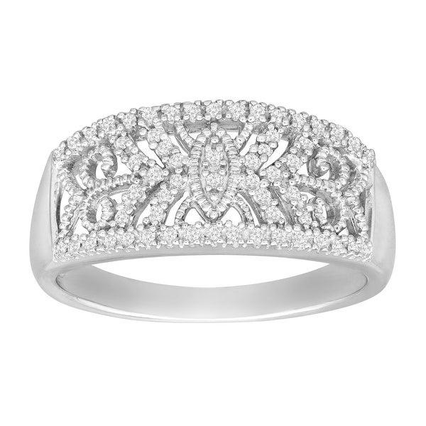 1/5 ct Diamond Filigree Band Ring in Sterling Silver