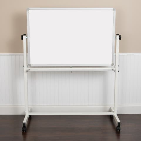 Double-Sided Mobile White Board with Shelf - Flip Over Board