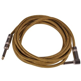 Seismic Audio - 12 Foot Yellow Woven Cloth Guitar Cable - Instrument Cable 12'