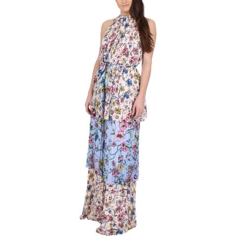 Juicy Couture Black Label Womens Maxi Dress Floral Print Chiffon