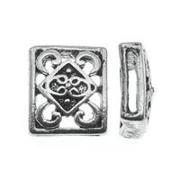 Lead-Free Pewter Beads, Patterned Sliders 13x14.5mm, 2 Pieces, Antiqued Silver
