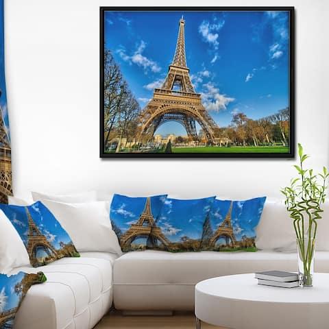 Designart 'Beautiful Winter Day in Paris' Extra Large Framed Canvas Art Print