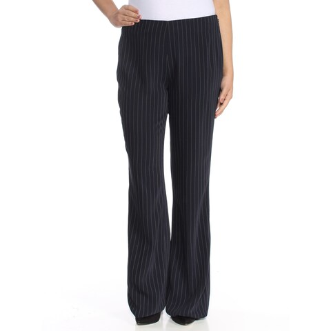 CALVIN KLEIN Womens Black Pinstripe Wear To Work Pants Size: 6