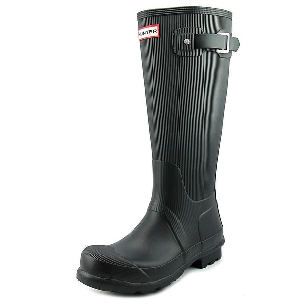Hunter Original Rib Leg Men Round Toe Synthetic Black Rain Boot
