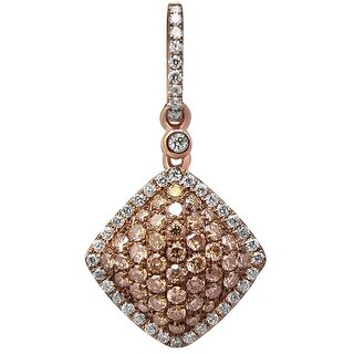Prism Jewel 0.40Ct Brown Color Diamond With Natural Diamond Cushion Shaped Pendant - White G-H