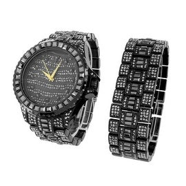 Mens Watch & Bracelet Set Black Iced Out Simulated Diamonds Stainless Steel Back Analog Display