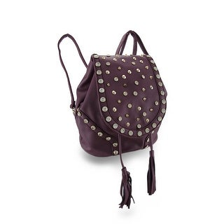 Rhinestone Studded Cinch Backpack Purse w/Tassel and Convertible Strap