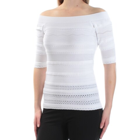 Womens White Short Sleeve Boat Neck Casual Sweater Size 2XS
