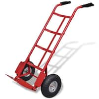 vidaXL Red and Black Metal Foldable Cart