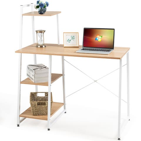 Costway Computer Desk with Shelves Study Writing Desk Workstation with