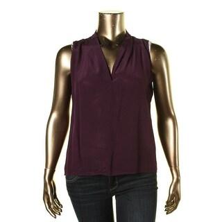 Calvin Klein Womens Silk V-Neck Pullover Top