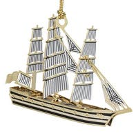 "3.5"" Black and White 24K Gold Finish Tall Ship Christmas Ornament"