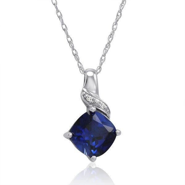 Amanda Rose Sterling Silver Created Sapphire and Diamond Pendant-Necklace (2 1/2ct tgw)