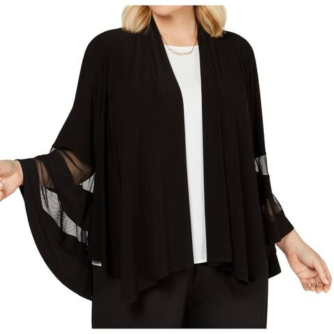 R&M Richards Womens Topper Jacket Black Size 1X Plus Mesh Waterfall