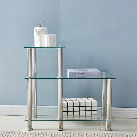 Three-layer Stepped Tempered Glass Stainless Steel Tube Side Table