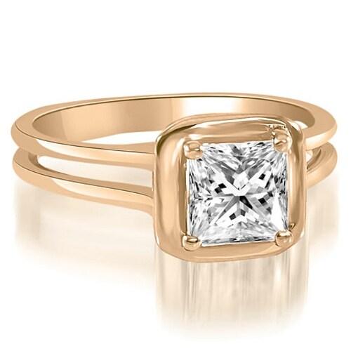 1.00 cttw. 14K Rose Gold Split Shank Halo Princess Cut Diamond Engagement Ring
