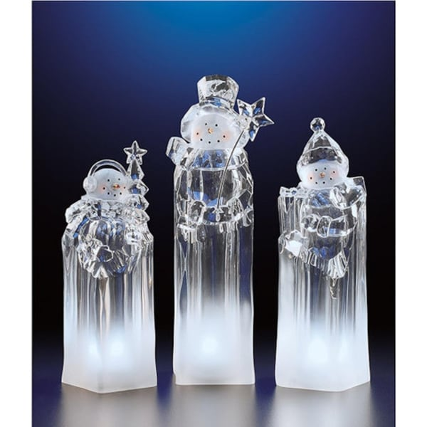 """Pack of 2 Icy Crystal Decorative Illuminated Ice Tower Snowmen Figurines 8.3"""" - CLEAR"""