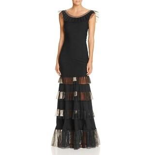 Tadashi Shoji Womens Evening Dress Pintuck V-Back