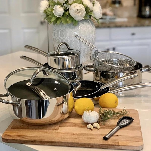Kitchen Academy 10-Piece Polished Coating Aluminium Cookware Set Heat Quickly and Evenly, Silver. Opens flyout.