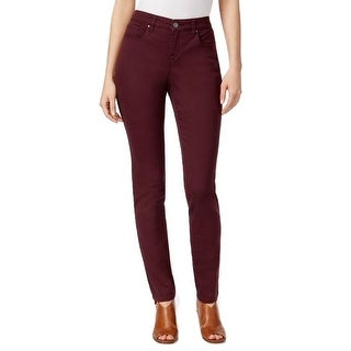 Style & Co Curvy-Fit Tummy Control Mid Rise Skinny Jeans Pants Dried Plum - 18 short