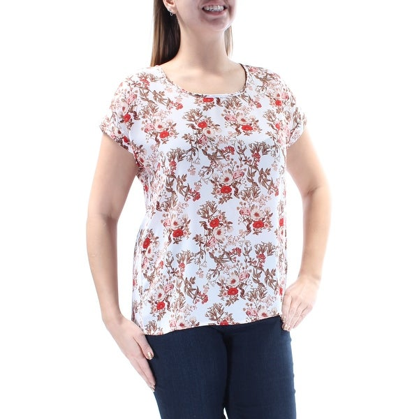 126aebb7d1f30 HIPPIE ROSE Womens Red Petite Floral Short Sleeve Scoop Neck Evening Top  Juniors Size: L