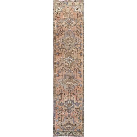 """Vintage Geometric Heriz Persian Long Wool Runner Rug Handmade Carpet - 2'4"""" x 14'1"""""""