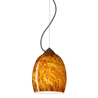 Besa Lighting 1KX-169718 Lucia 1 Light Cable-Hung Pendant with Amber Cloud Glass Shade