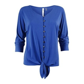 NY Collection Women's Dolman Sleeve Tie Front Blouse