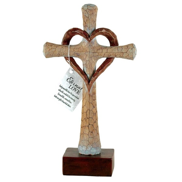 "11.75"" Brown and Beige Bronze Finished Cross Tabletop with Heart - N/A"