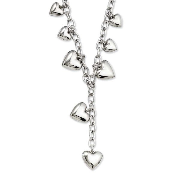 Stainless Steel Polished Hearts 18in Y Necklace (4 mm) - 18 in