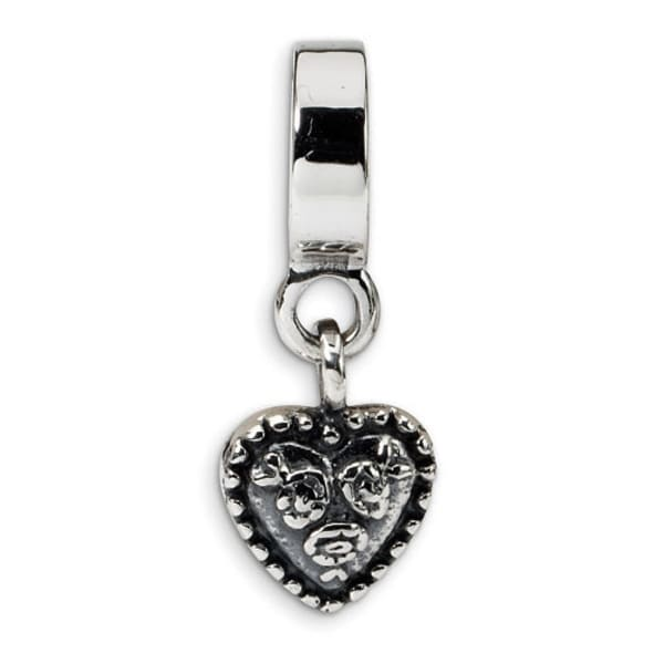 Sterling Silver Reflections Heart Dangle Bead (4mm Diameter Hole)