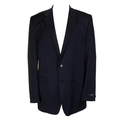 Alfani Mens Navy Blue Traveler Regular Fit Single Breasted Blazer 44S