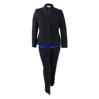 Le Suit Women's Plus 3PC Two-Button Texture-Weave Pantsuit (18W, Black/Cobalt) - Black/Cobalt - 18W