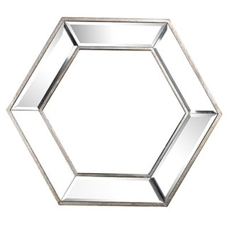 "20.5"" Silver Mirrored Classic Vintage Style Wooden Framed Hexagonal Wall Mirror"