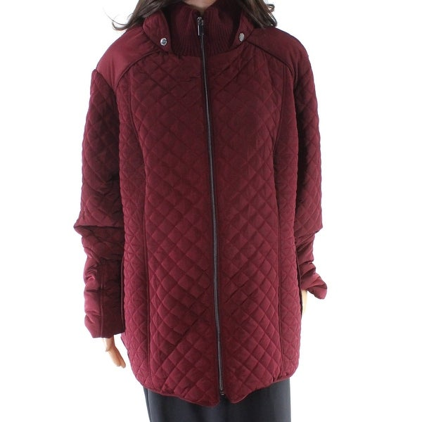 Gallery Yok Purple Women Size 3X Plus Quilted Mock Neck Jacket