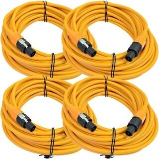 SEISMIC AUDIO 4 Pack of 12 Gauge 50' Orange Speakon to Speakon Speaker Cables