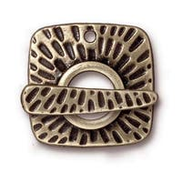 TierraCast Brass Oxide Finish Pewter Textured Radiant Toggle Clasp 22mm (1)