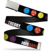 "Blank Chrome 1.5"" Bo Buckle The Big Bang Theory DNA Atom E Radiation Black Web Belt"